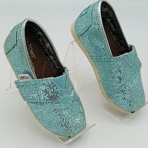 Toms Turquoise Blue Sparkly Glittering Flats sz T6